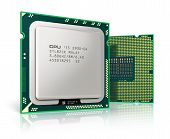 picture of cpu  - Modern central computer processors CPU isolated on white background with reflection effect