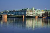 image of winter palace  - View Winter Palace in Saint Petersburg with reflection from Neva river - JPG
