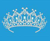 Beautiful Diadem Feminine Wedding On We  Blue Background