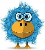 picture of monster symbol  - illustration funny blue bird with big eyes - JPG