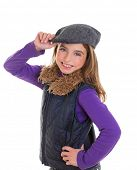 children kid winter girl with cap coat and fur smiling on white background