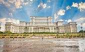 Parliament of Romania, the second largest building in the world, built by dictator Ceausescu in Buch