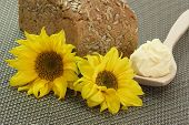 Bread With Oleo And Sunflowers