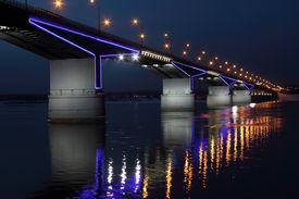 stock photo of kama  - The automobile bridge through Kama in Perm - JPG