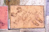 Handprints Of Michael Caine In Hollywood Boulevard In The Concrete Of Chinese Theatre's Forecourt