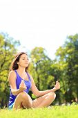 picture of stressless  - Young female athlete in sportswear meditating seated on a green grass in a park - JPG