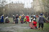 MOSCOW - APRIL 28: Battle of East - Russia-Orda XI-XV centuries on Maneuvers East versus West, on Ap