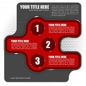 Abstract vector red background with three step and place for text