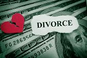 image of breakup  - Divorce paper with red broken heart on money - JPG