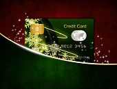 Christmas Credit Card In Red Envelope Isolated Over White