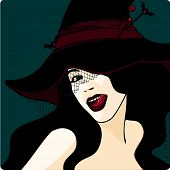 Stylish witch in a hat with a veil