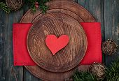 foto of christmas dinner  - Christmas background with rustic ornaments and fir tree - JPG