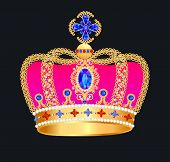 foto of crown jewels  - illustration of royal gold crown with jewels - JPG