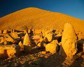 Stone heads on Nemrut dag(mountain). Turkey