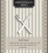 vector Menu for restaurant lace natural paper 3D cutlery