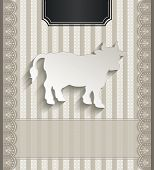 raster Menu for restaurant lace natural paper 3D cow