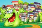 stock photo of hilltop  - Illustration of a monster shouting for joy at the hilltop across the tall buildings - JPG