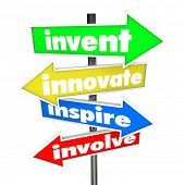 The words Invent, Innovate, Inspire, Involve on colorful road or street signs pointing you in a dire