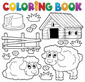 image of dairy barn  - Coloring book sheep theme 1  - JPG