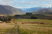 Beautiful view near Queenstown, South Island, New Zealand. Queenstown neighborhood in the late autumn.