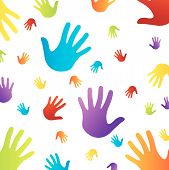Background with colorful hands