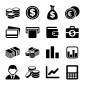 stock photo of coins  - Money and coin icon set - JPG