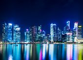 picture of singapore night  - Singapore city skyline at night - JPG