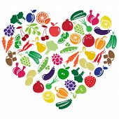 pic of olive shaped  - vector heart made of fruits and vegetables - JPG