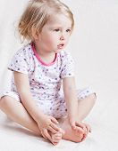 Adorable Little Girl In Pajamas