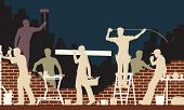 stock photo of bricklayer  - Editable vector colorful illustration of builders and bricklayers - JPG