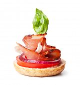 image of canapes  - delicious prosciutto canape on a white - JPG