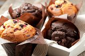 stock photo of chocolate muffin  - blueberry and chocolate muffins in paper cupcake holder - JPG
