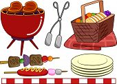Illustration of Ready to Print Barbecue-Related Elements