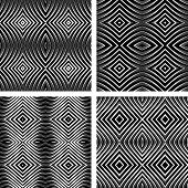 Seamless patterns set in op art design. Vector graphic. No gradient.