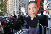 Giant Obama mask at Zuccotti Park