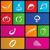 illustration of metro style fruit and vegetable icons