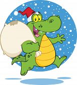stock photo of gator  - Crocodile Santa Cartoon Character Running With Bag - JPG