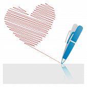 Corazón de tinta roja pluma icono dibujo sobre papel