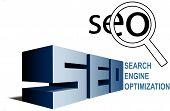 Posicionamiento en buscadores SEO símbolos encontrar lupa