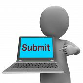 Submit Laptop Shows Submitting Submission Or Internet