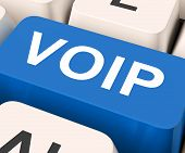 picture of voip  - Voip Key Meaning Voice Over Internet Protocol Or Broadband Telephony - JPG