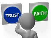 Trust Faith Buttons Show Trustful Or Faithfulness