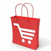 Shopping Cart Bag Showing Basket Checkout