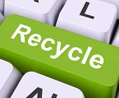 stock photo of reprocess  - Recycle Key On Keyboard Meaning Reprocess Reuse Or Salvage - JPG