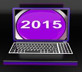 Two Thousand And Fifteen On Laptop Shows New Year 2015
