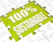 100% Sustainable Puzzle Shows Environment Protected And Recycling