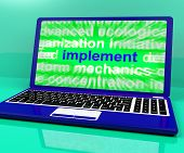 Implement Laptop Shows Implementing Or Executing A Plan