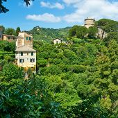 picture of castello brown  - Castello Brown near Portofino village on Ligurian coast in Italy - JPG