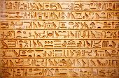 stock photo of carving  - old egypt hieroglyphs carved on the stone - JPG