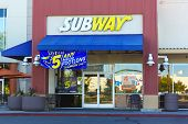 Sacramento, Usa - September 23:  Subway Store On September 23, 2013 In Sacramento, California.